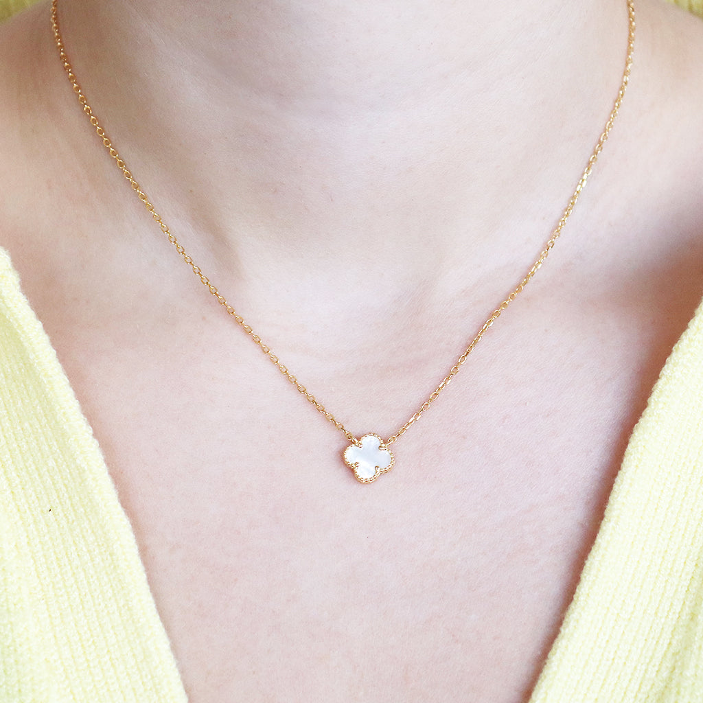 CLOVER 1 MICRON GOLD PLATED MOTHER OF PEARL PENDANT II