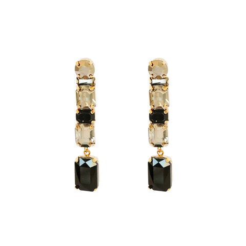 VRENI BLACK CRYSTAL DROP EARRINGS