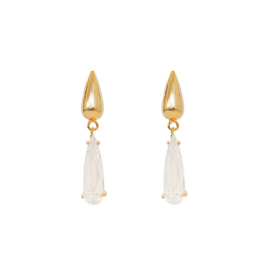 VONNI CLEAR GOLD PLATED CRYSTAL TEAR DROP EARRINGS
