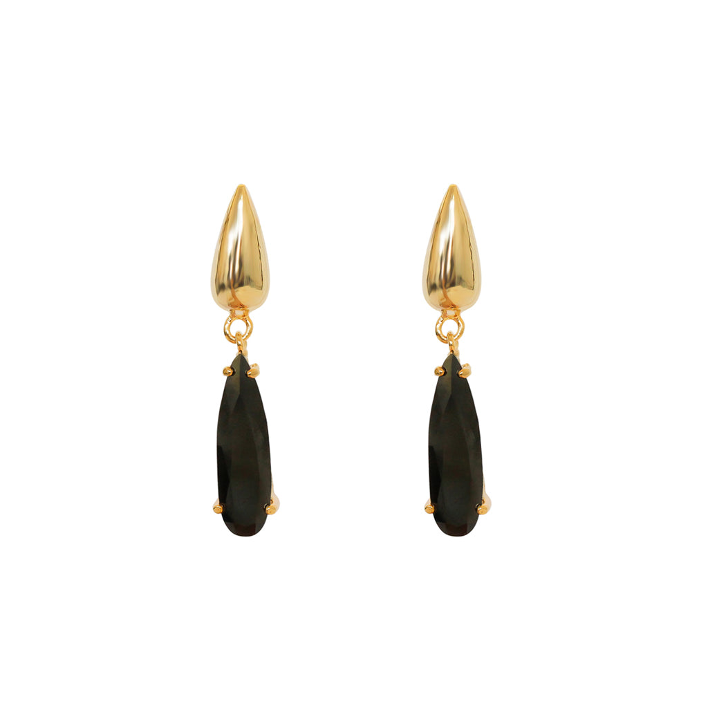 VONNI BLACK GOLD PLATED CRYSTAL TEAR DROP EARRINGS