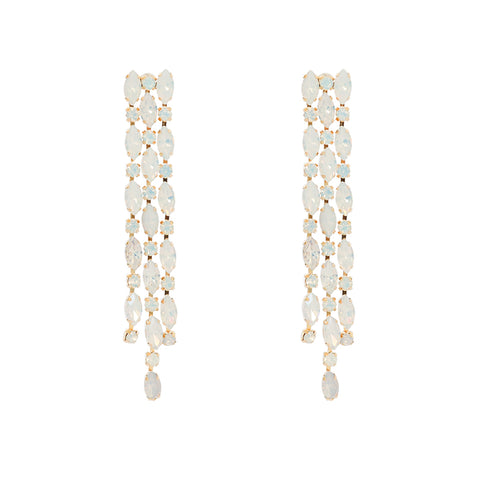 VANYA GOLD PLATED OPAL CRYSTAL DROP EARRINGS