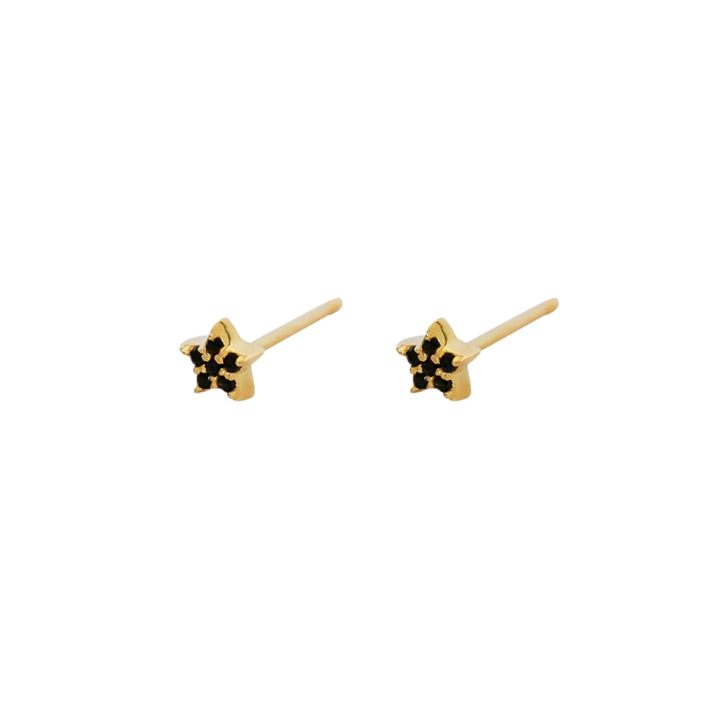 STAR MINI CRYSTAL BLACK GOLD STUDS