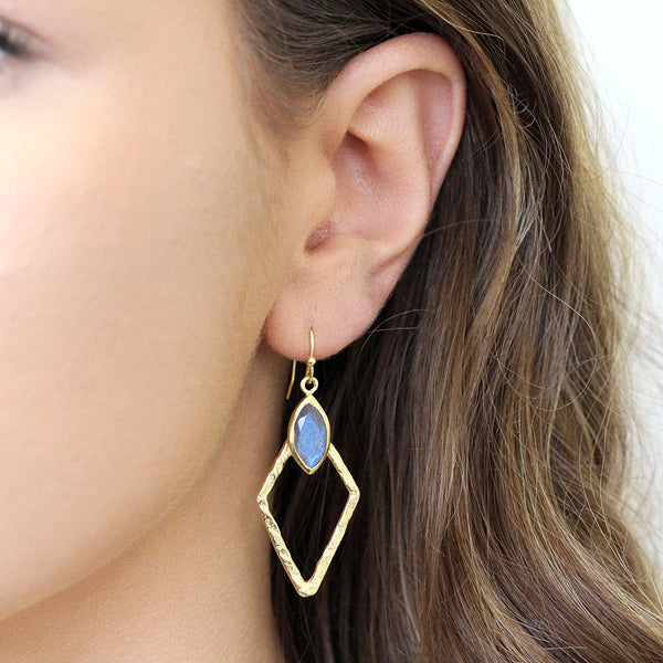 DANIA LABRADORITE GOLD EARRINGS