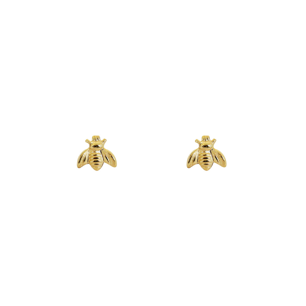BEES SMALL STERLING SILVER GOLD PLATED STUDS