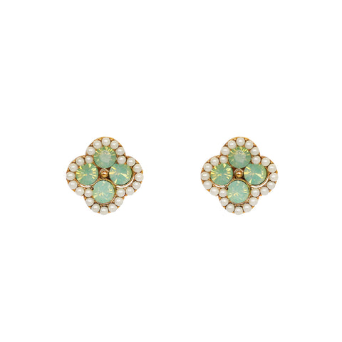 DOUBLE CLOVER MINT CRYSTAL DROP EARRINGS