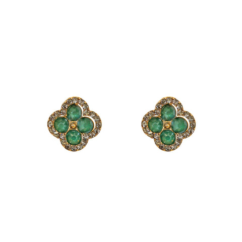DOUBLE CLOVER GREEN CRYSTAL DROP EARRINGS