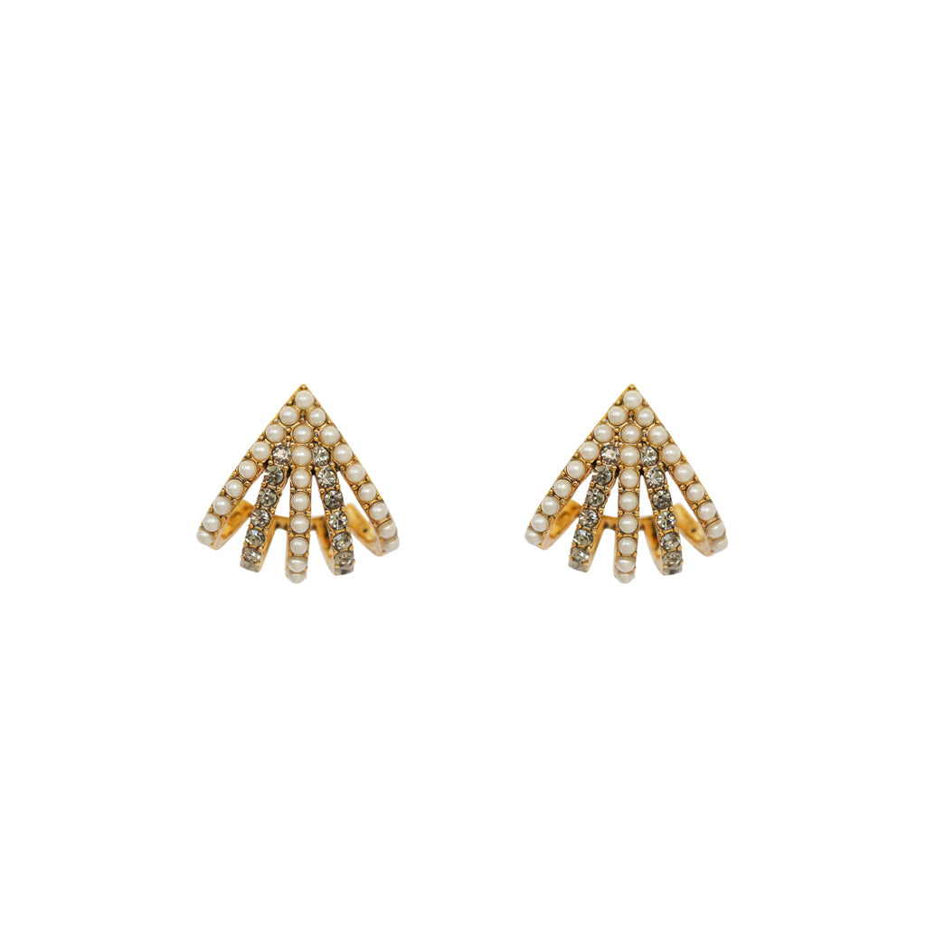 TAINI PEARL ANTIQUE GOLD EARRINGS