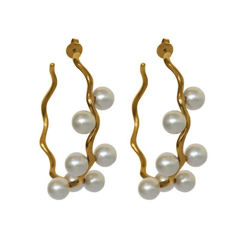 EDITE PEARL & GOLD HOOP EARRINGS