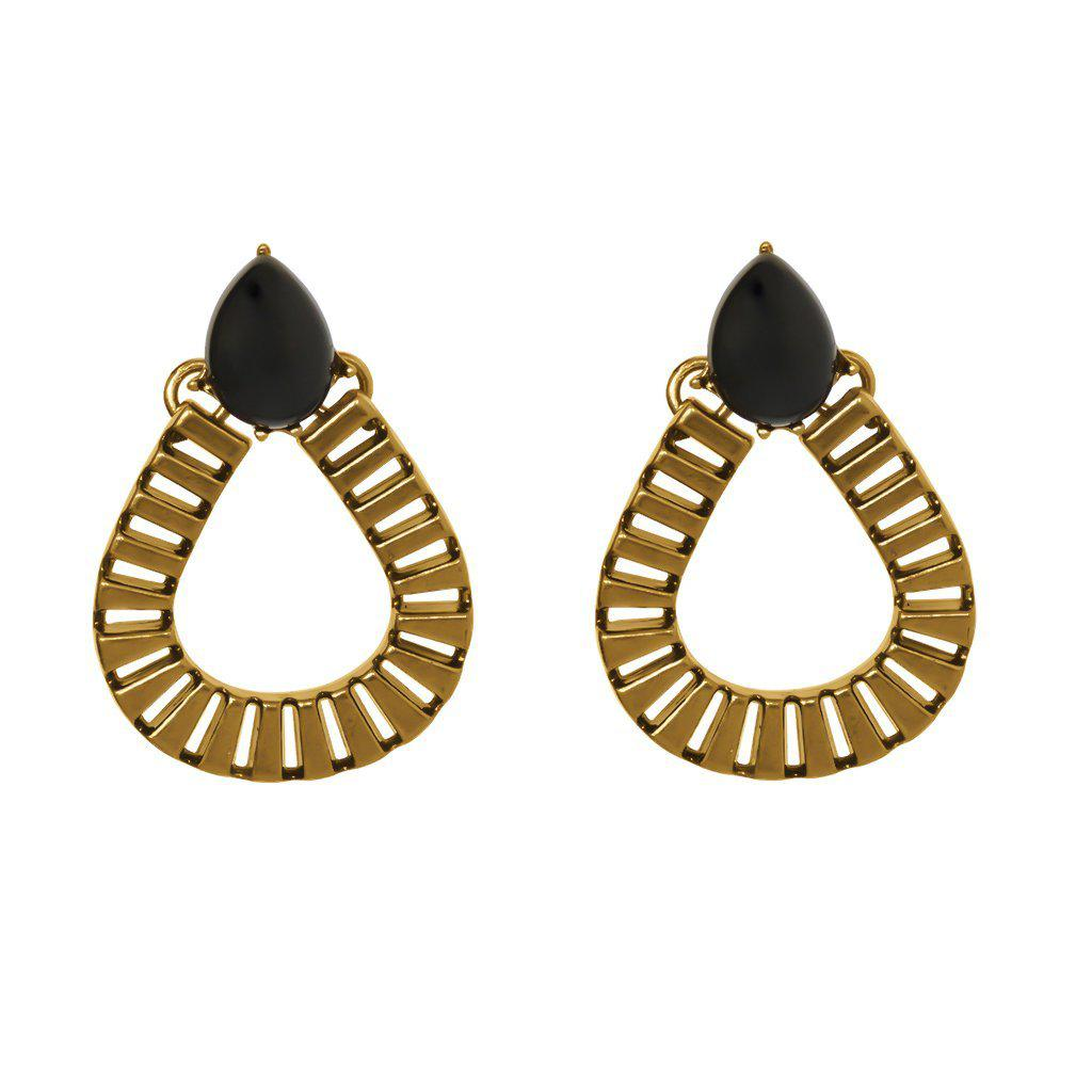 LUIZ BLACK TEAR DROP EARRINGS