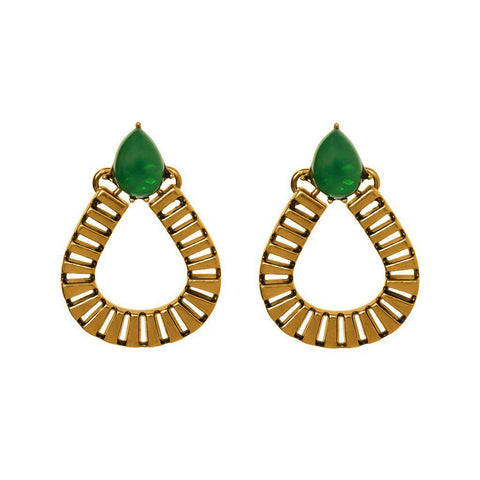 LUIZ EMERALD GREEN TEAR DROP EARRINGS