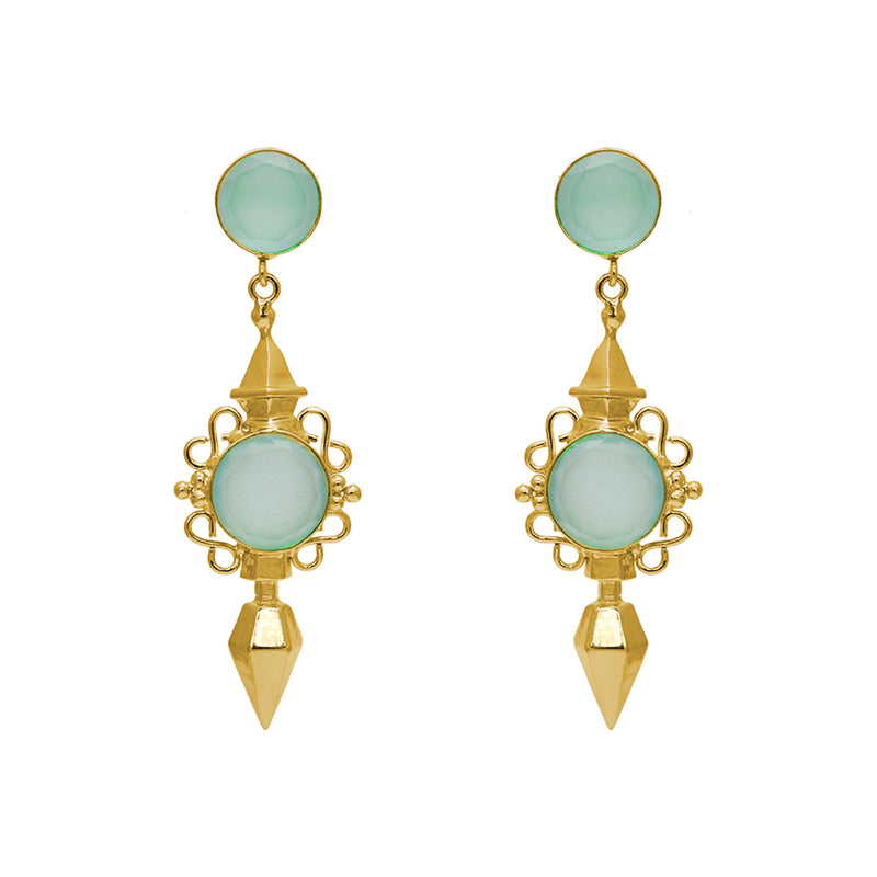 KIRSI CHALCEDONY GOLD EARRINGS