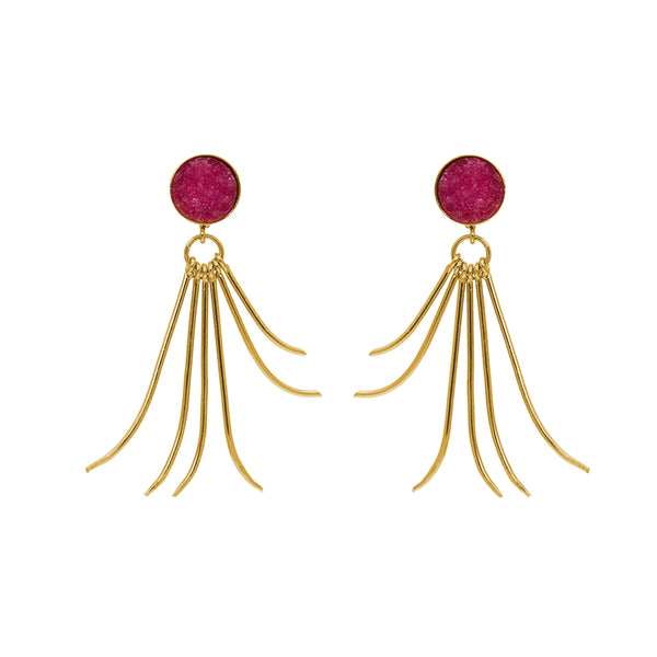 OILLI GOLD CORAL SOLAR QUARTZ EARRINGS