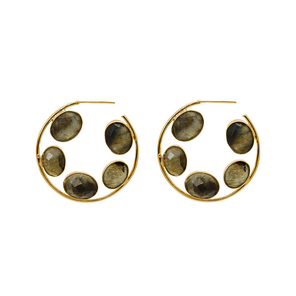 IRJA LABRADORITE GOLD EARRINGS