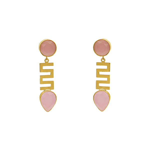 TARJA ROSE QUARTZ GOLD EARRINGS