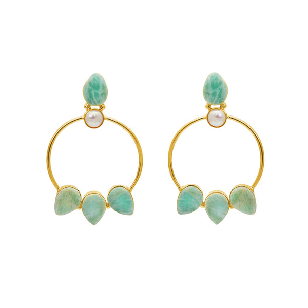 LORELEI AMAZONITE GOLD EARRINGS