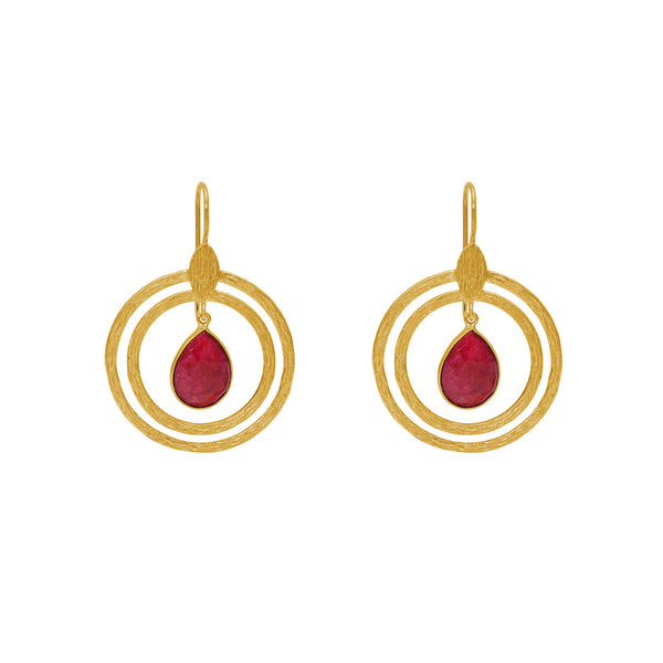 ARIETH GOLD RUBY DROP EARRINGS
