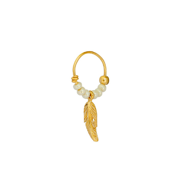 LILY FEATHER PEARL GOLD FILLED SLEEPER EARRING