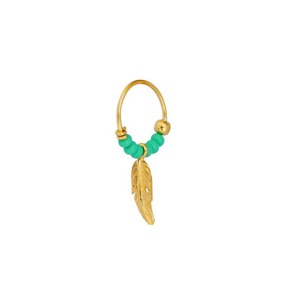 LILY FEATHER GOLD FILLED SLEEPER EARRING