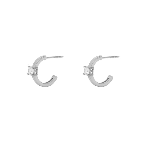 SIMMY STERLING SILVER CRYSTAL HOOP EARRINGS