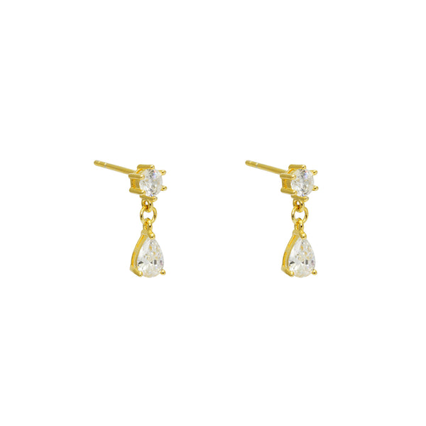 CASSIUS TEAR DROP GOLD CRYSTAL STUDS