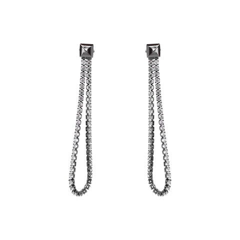 JOLEE CHAIN CRYSTAL GUNMETAL EARRINGS