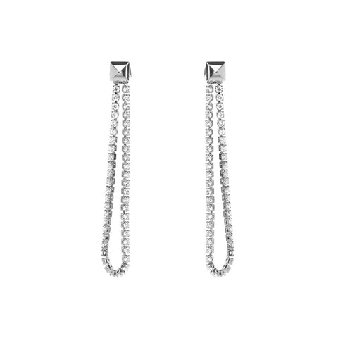 JOLEE CHAIN CRYSTAL SILVER EARRINGS