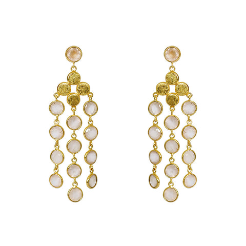 JULIANA ROSE QUARTZ 2 MICRON GOLD EARRINGS