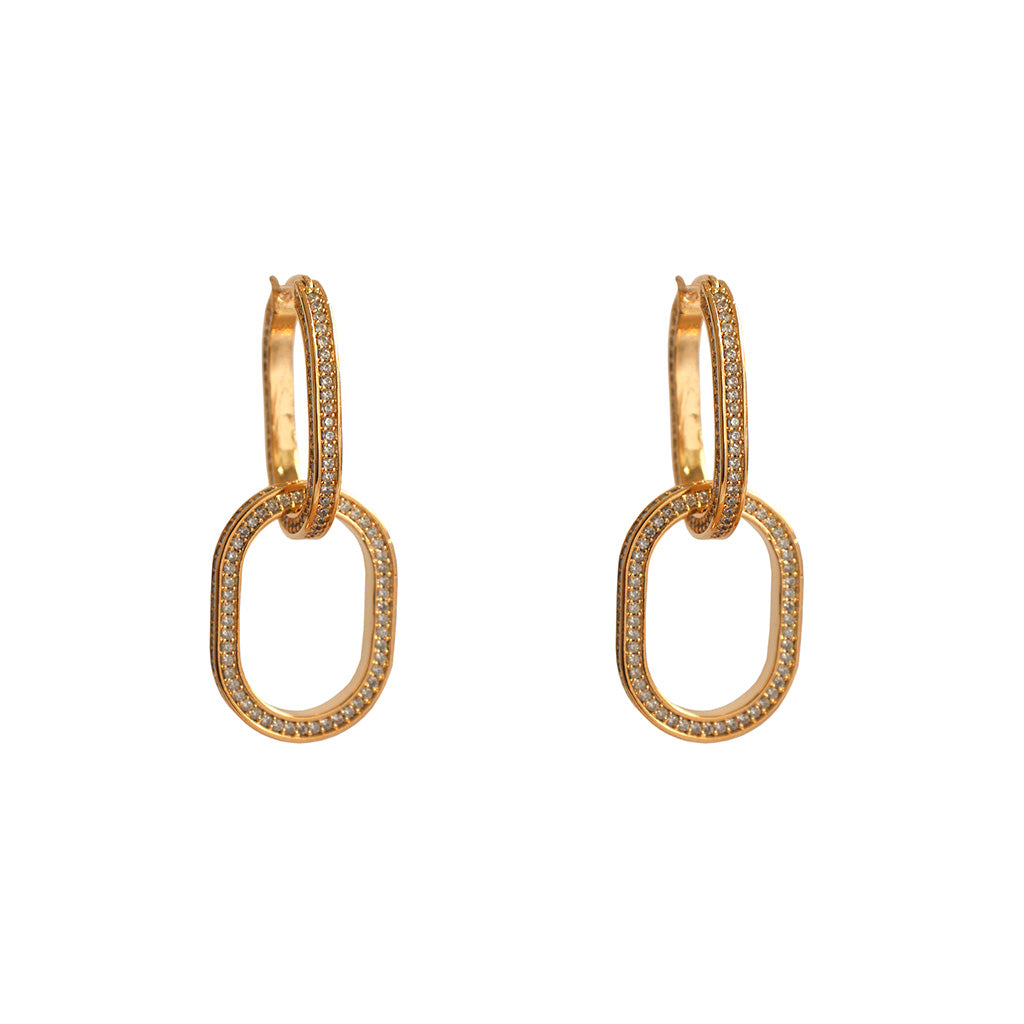 JAGVI DOUBLE LOOP GOLD CRYSTAL DROP EARRINGS