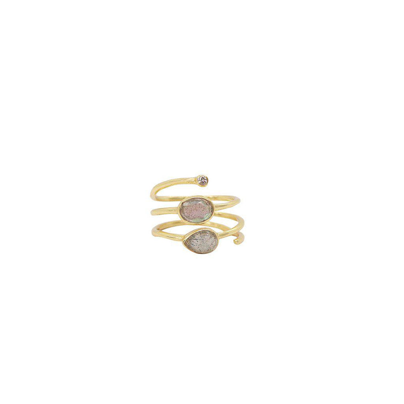 JANAY 2 MICRON GOLD PLATED LABRADORITE AND CRYSTAL RING