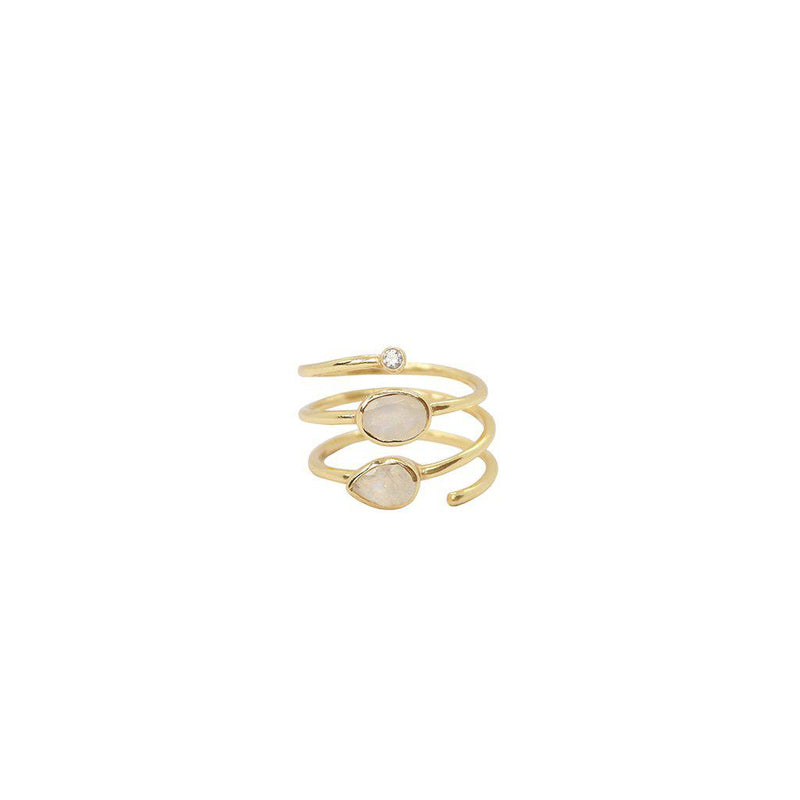 JANAY 2 MICRON GOLD PLATED MOONSTONE AND CRYSTAL RING