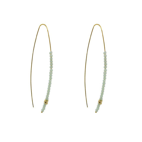 JONAR GOLD AND BLUE CRYSTALS HOOK EARRINGS
