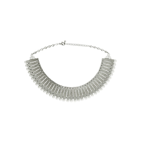 KAMARI SILVER CRYSTAL PEARL NECKLACE