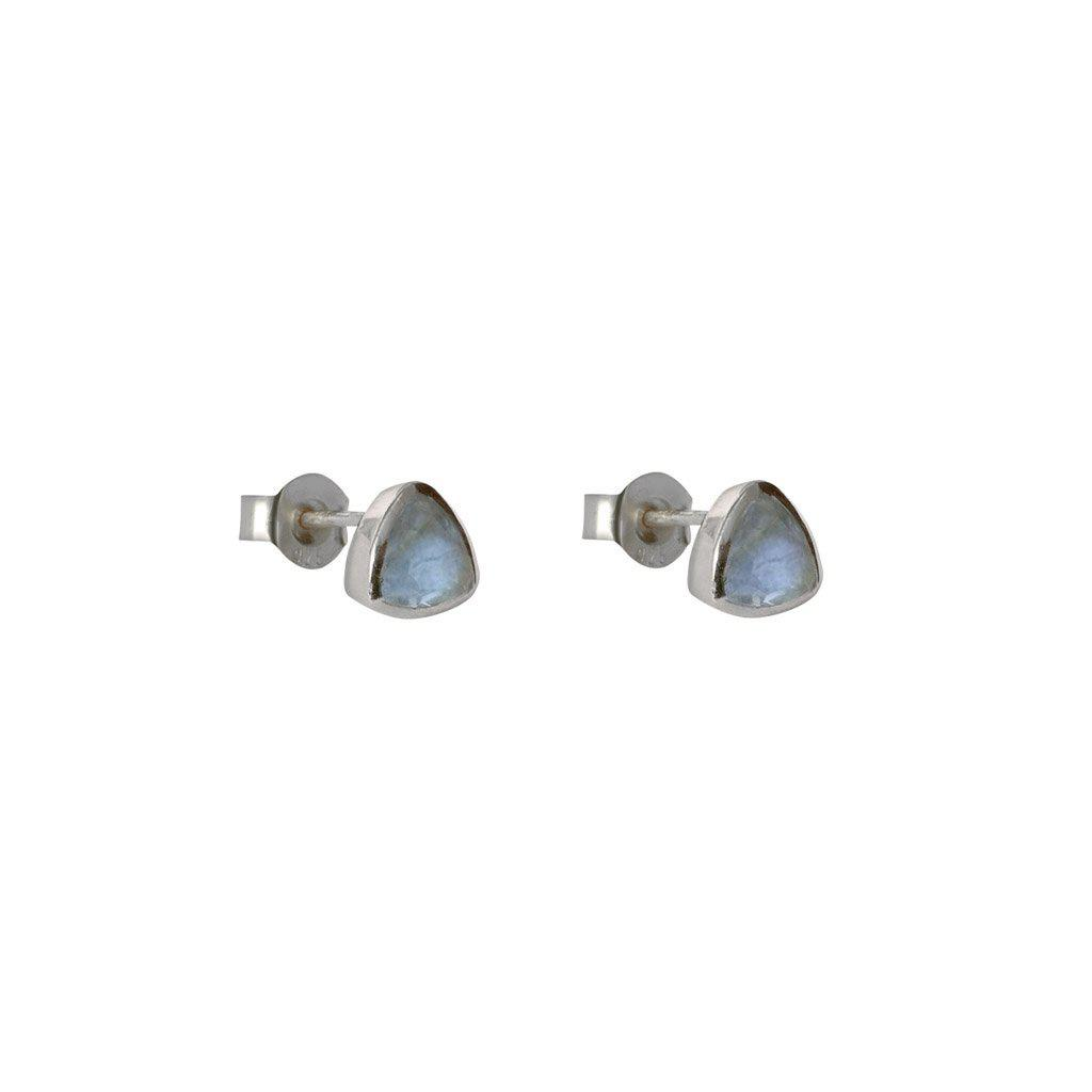 KARTER TRIANGLE LABRADORITE STERLING SILVER STUDS EARRINGS