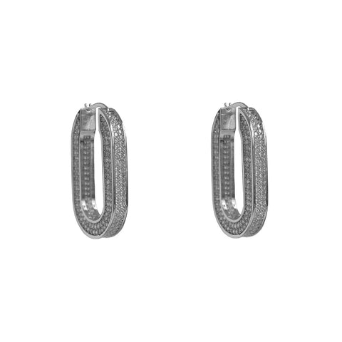 KAMYA RECTANGLE DOUBLE SIDE CRYSTAL HOOP SILVER EARRINGS