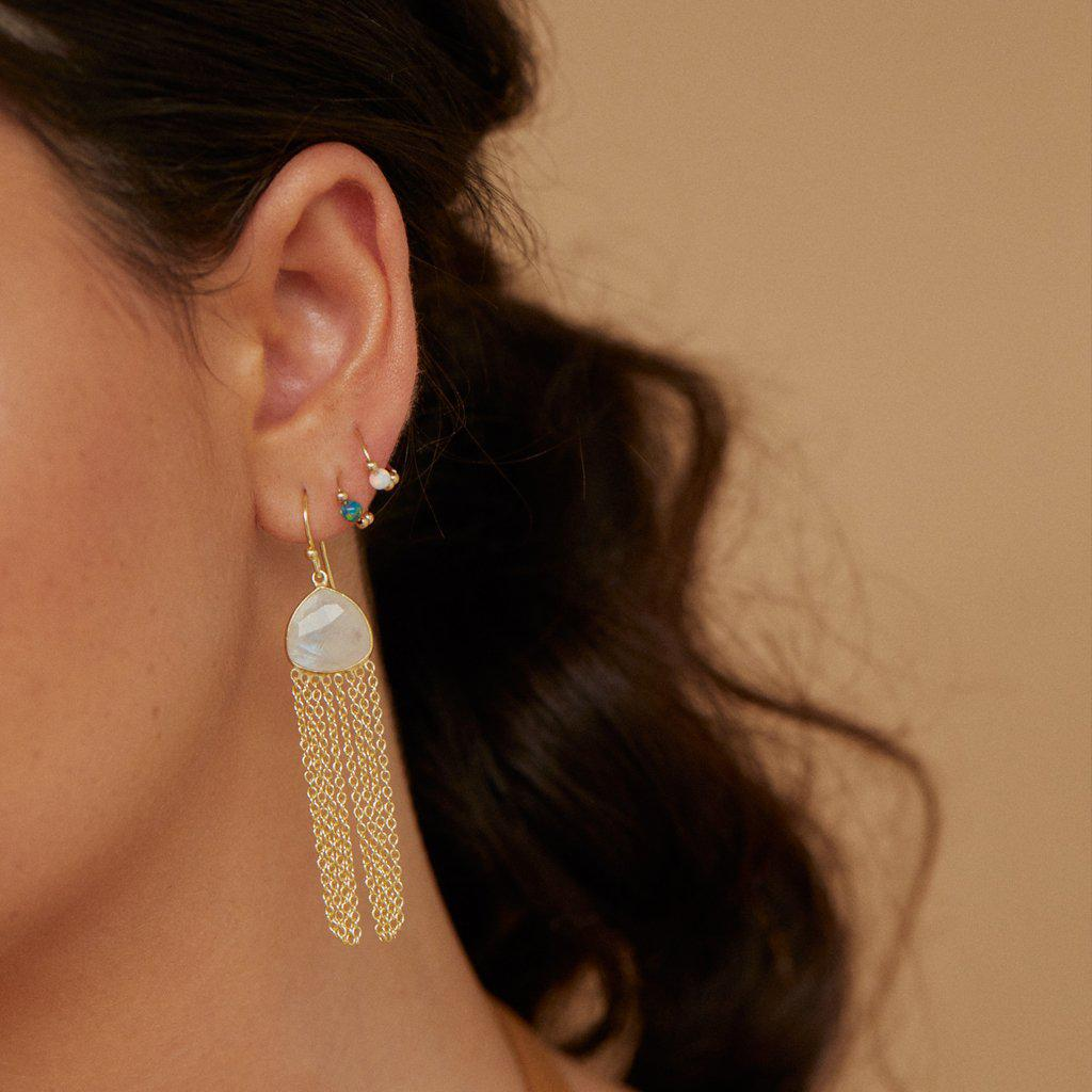 KIONA MOON STONE SEMI-PRECIOUS 2 MICRON GOLD EARRINGS