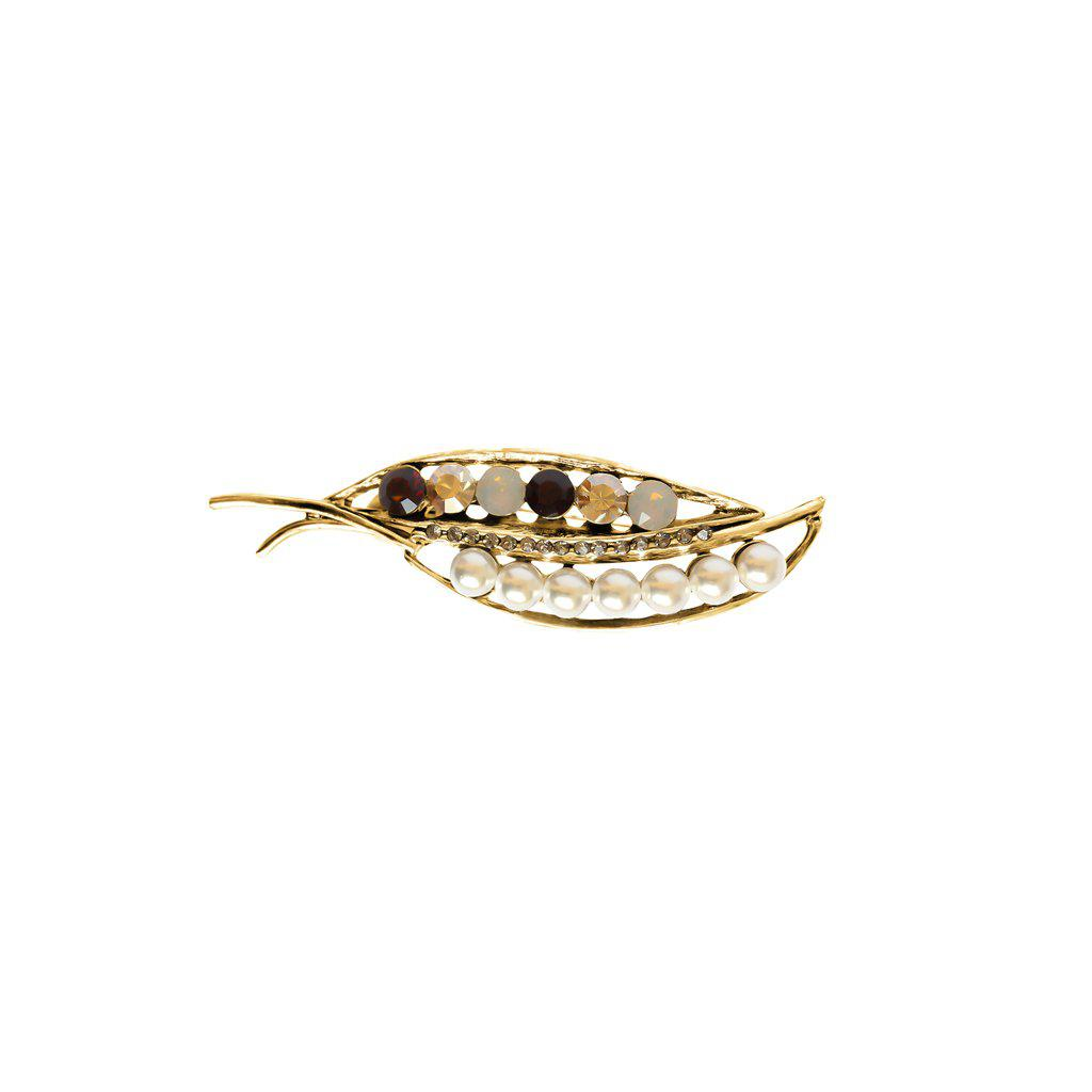 LEAF ANTIQUE PEARL AND CRYSTAL BROOCH