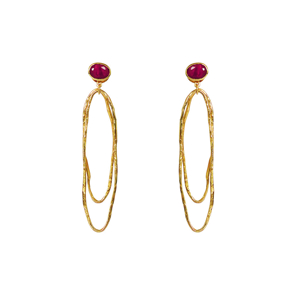 LILOU ROUGH RUBY 2 MICRON GOLD EARRINGS
