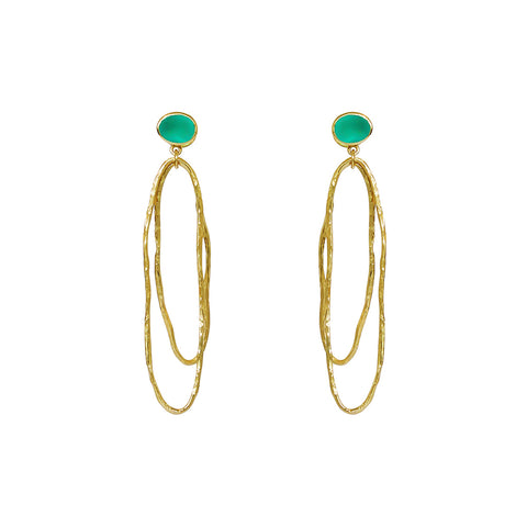 LILOU CHALCEDONY 2 MICRON GOLD EARRINGS