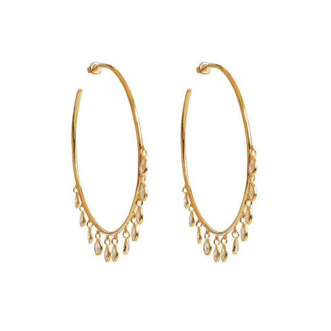 LOM GOLD CRYSTAL HOOP EARRINGS