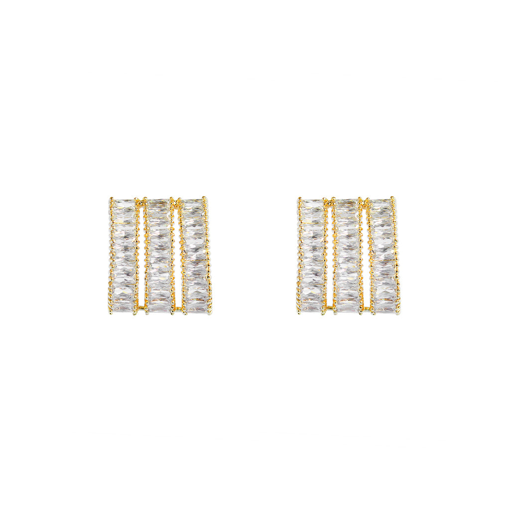 LUPE GOLD CRYSTAL THREE LINE DROP STUD EARRINGS