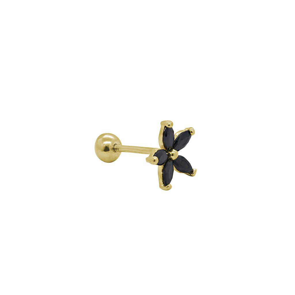 LABRET XI - 14K GOLD/BLACK FLOWER
