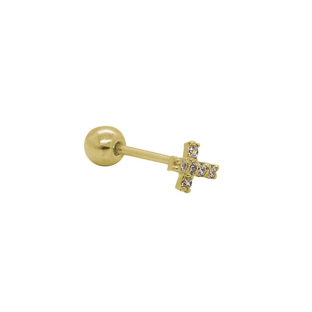 LABRET VIII- 14K GOLD/CRYSTAL CROSS