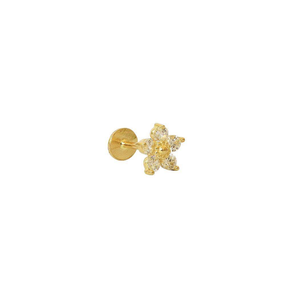 LABRET - 14K GOLD FLOWER & CRYSTALS