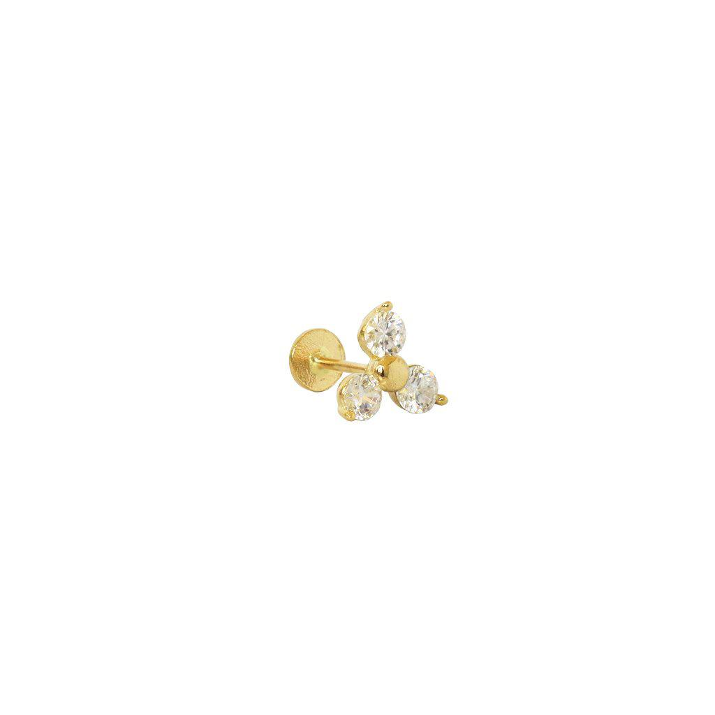 LABRET - 14K GOLD FLOWER & CRYSTALS III