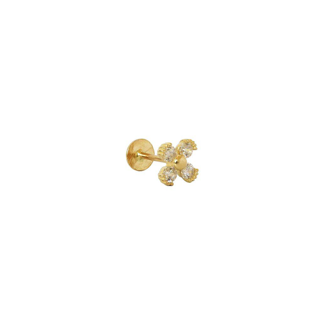 LABRET - 14K GOLD FLOWER & CRYSTALS V
