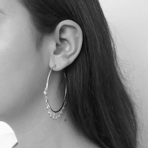 LOM SILVER CRYSTAL HOOP EARRINGS