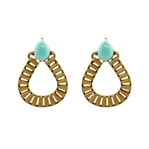 LUIZ LIGHT BLUE TEAR DROP EARRINGS
