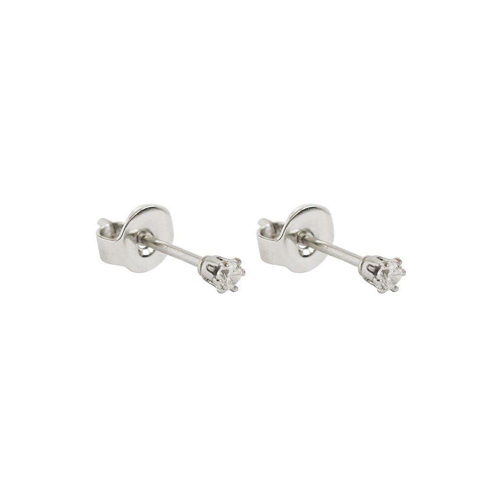 MABEL II 2MM CRYSTAL SILVER STUD EARRINGS