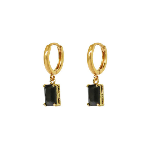 MADELINE BLACK CRYSTAL DROP GOLD HUGGIES