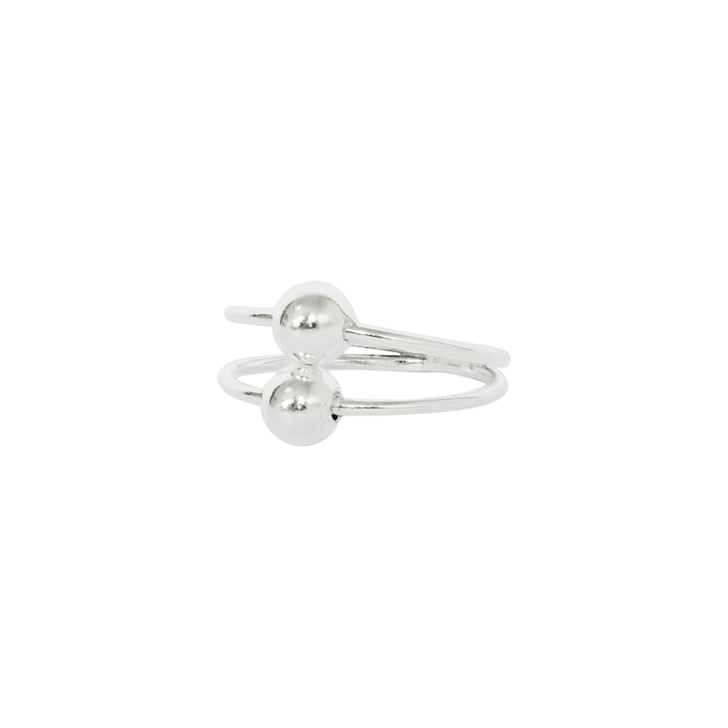 MALIAH STERLING SILVER DOUBLE BALL RING